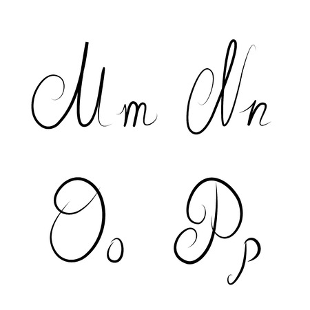 italics: Hand drawn calligraphic letters M,N,O,P isolated
