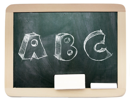 Blackboard with sketchy ABC written on it isolated photo