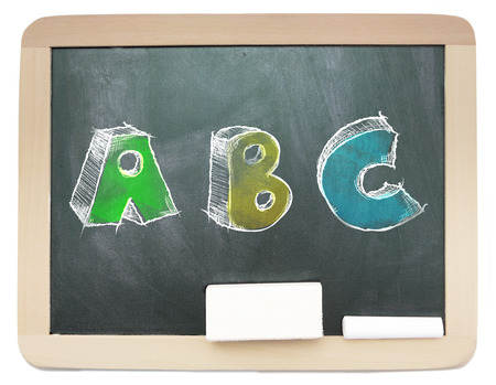 Blackboard with sketchy colorful ABC written on it isolated photo