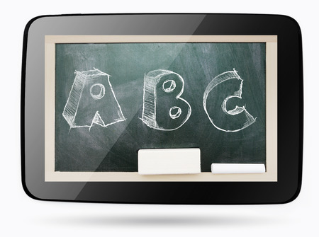 Blackboard inside computer tablet with ABC sketchy chalk text  photo