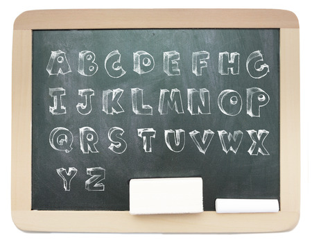 Blackboard with sketchy capital alphabet written on it isolated photo