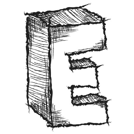 Sketchy hand drawn letter E isolated on white photo