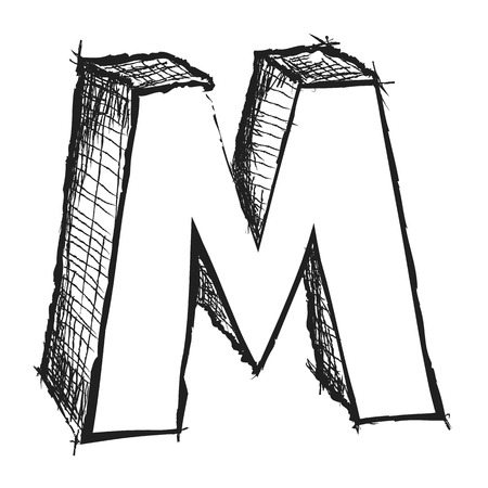 Sketchy hand drawn letter M isolated on white photo