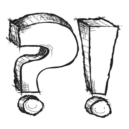 interrogation point: Sketchy hand drawn question and exclamation marks isolated Stock Photo