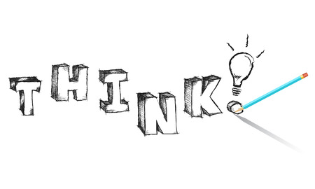 Sketchy colorful word Think with light bulb photo