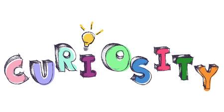 Schetsmatige kleurrijke woord Nieuwsgierigheid met gloeilamp