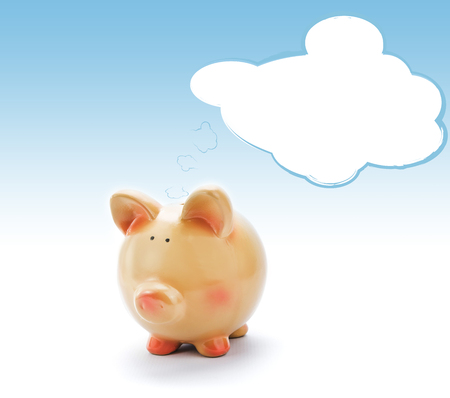 Piggy bank with blank text bubble  photo