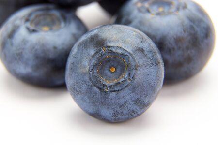 Macro shot of ripe blueberries isolated on white