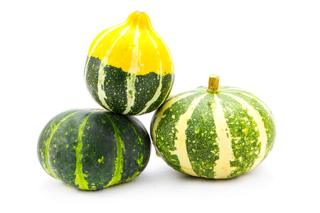 Mini colorful pumpkins  isolated on white