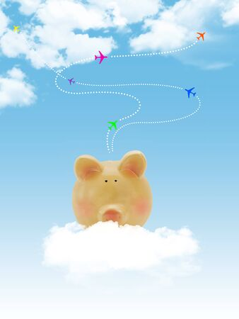 Piggy bank with blue sky and clouds and airplanes photo