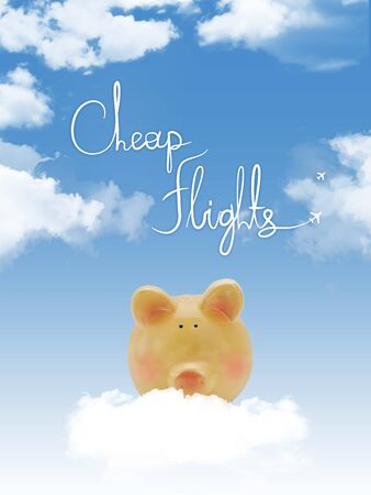 Piggy bank on a cloud with cheap flights text and blue sky