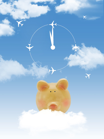 Piggy bank on cloud with clock and airplanes photo