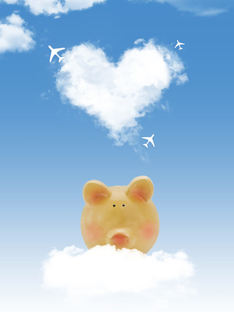 Piggy bank on cloud with heart shape cloud and airplanes