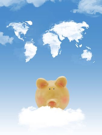 Piggy bank on cloud with world map shape clouds photo