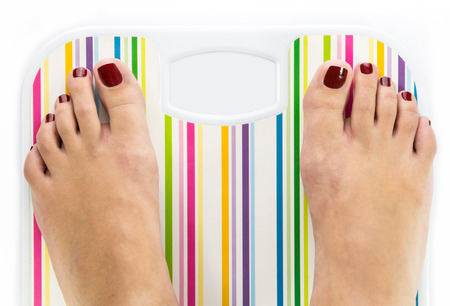 Feet on bathroom scale with blank dial copy-space isolated photo