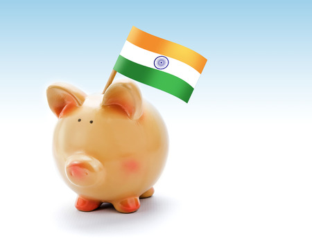 Piggy bank with national flag of India photo