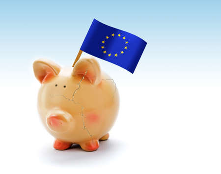 Piggy bank with cracks and flag of European Union photo