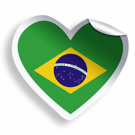 Heart sticker with flag of Brazil isolated on white photo