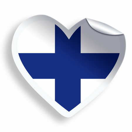 Heart sticker with flag of Finland  isolated on white photo