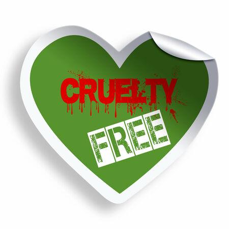cruelty: Heart green cruelty free sticker icon isolated on white