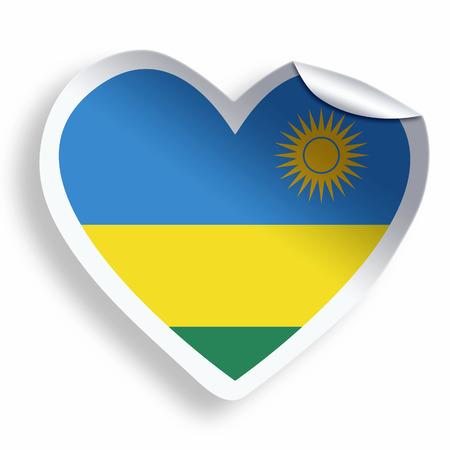 rwanda: Heart sticker with flag of Rwanda isolated on white Stock Photo