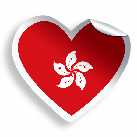 Heart sticker with flag of Hong Kong isolated on white photo