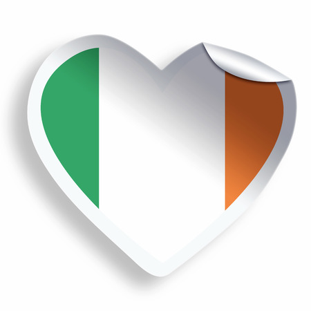 Heart sticker with flag of Ireland isolated on white photo