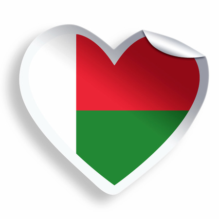 Heart sticker with flag of Madagascar isolated on white photo