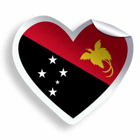 papua: Heart sticker with flag of Papua New Guinea isolated on white Stock Photo
