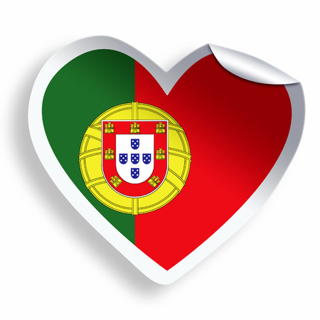 portugese: Heart sticker with flag of Portugal isolated on white