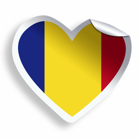 Heart sticker with flag of romania isolated on white stock photo 33797421
