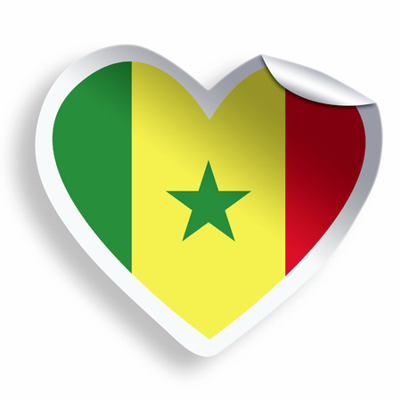 Heart sticker with flag of senegal isolated on white photo