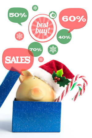 christmas budget: Piggy bank with speech bubbles. Christmas sale concept, isolated
