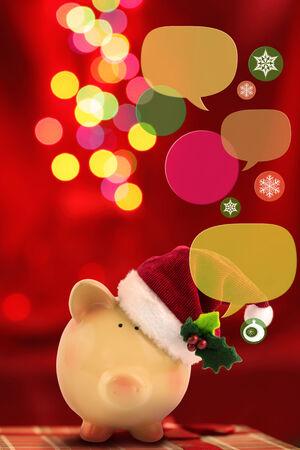 Piggy bank with speech bubbles. Christmas sale concept