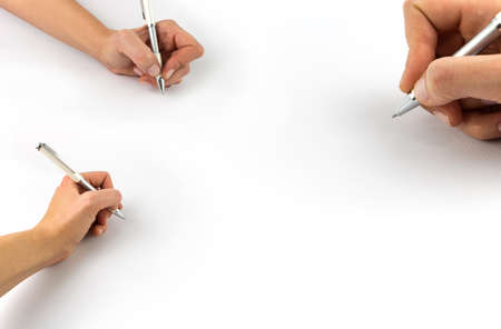 Hand holding pen, set isolated on white background