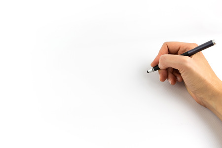Hand holding digital stylus isolated on white background Stock Photo