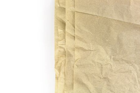 fringes: Old recycled blank crumpled papers fringes background on white Stock Photo