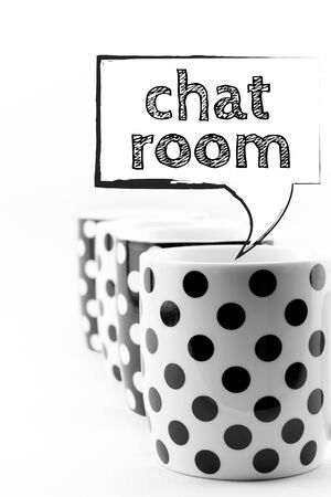 text room: Coffee mugs with speech bubble Chat room text  isolated on white