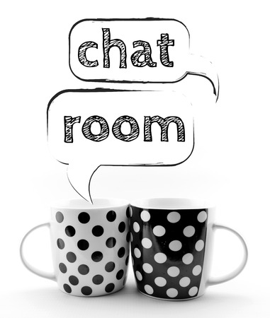 chat room: Coffee mugs with speech bubbles Chat room isolated on white background