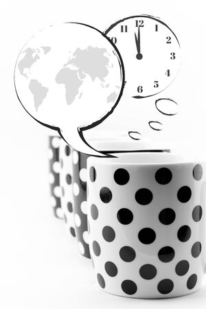 Coffee mugs with speech bubbles and world clock isolated