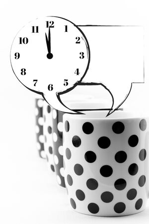 Coffee mugs with speech bubbles and clock isolated Stock Photo