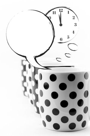timezone: Coffee mugs with speech bubbles and clock isolated Stock Photo