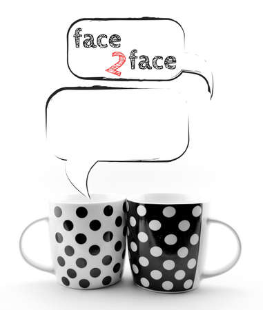 Coffee mugs with speech bubbles Face to face text  isolated