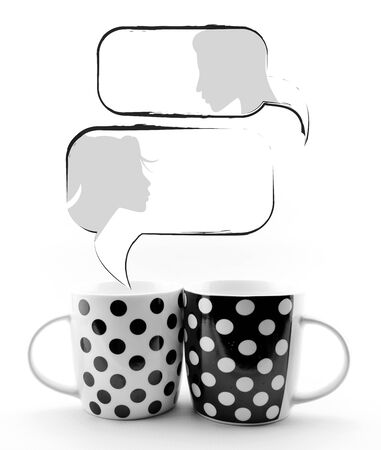 Coffee mugs with speech bubbles and faces isolated on white background photo