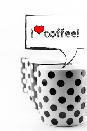 Coffee mugs with speech bubbles I love coffee text isolated