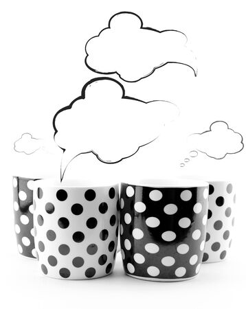 Coffee mugs with blank sketchy speech bubbles isolated on white background