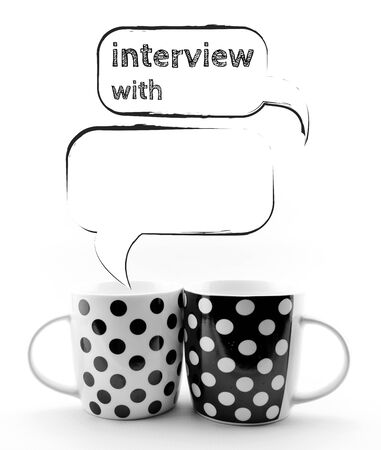 Coffee mugs with speech bubbles isolated on white background