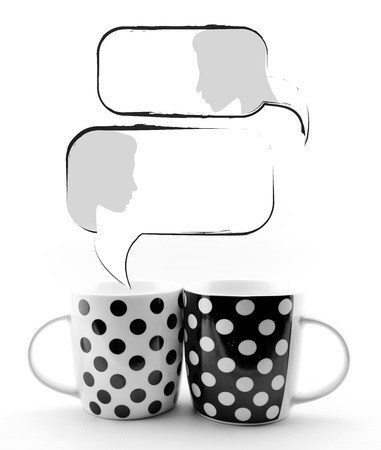Coffee mugs with speech bubbles and faces isolated on white background Stock Photo