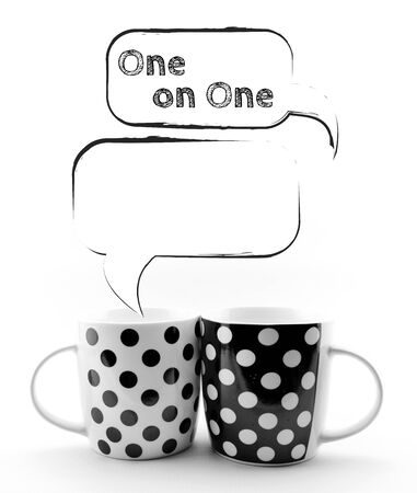 Coffee mugs with speech bubbles 1 on 1 text sketchy  isolated Stock Photo