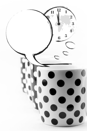 timezone: Coffee mugs with speech bubbles and world clock isolated
